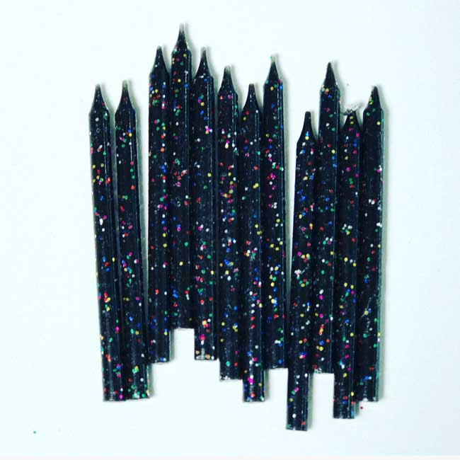 Black Sparkle Candles x12