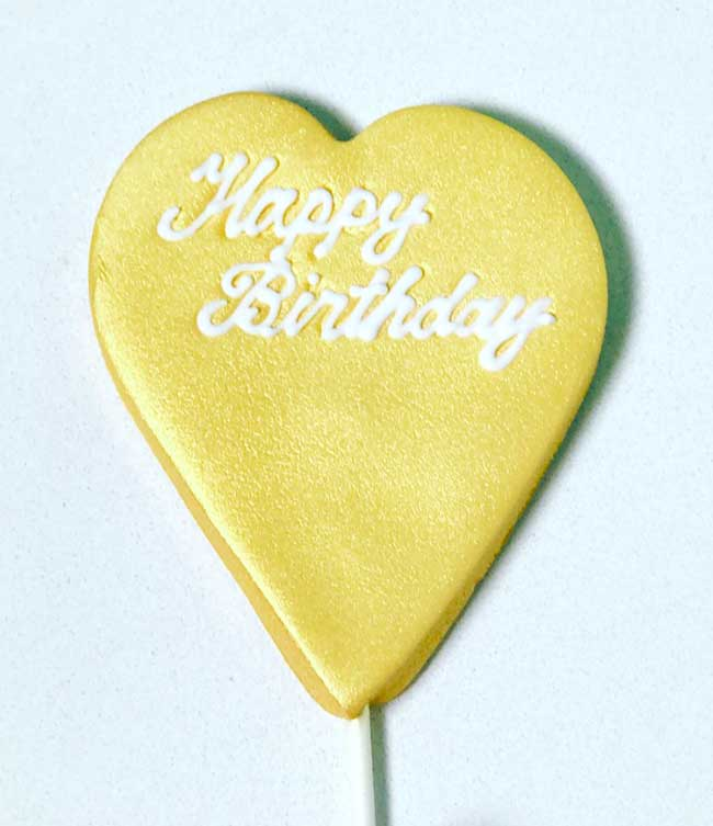 Cake Topper Gold (heart shape topper)